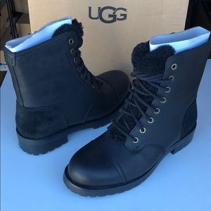 😍New Ugg Kilmer Expose black leather boots Sz 5.5